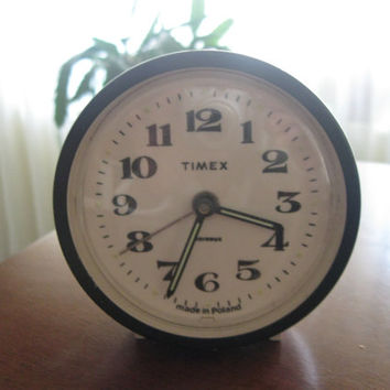 Vintage Timex Wind Up Alarm Clock made in Poland  Travel Clock