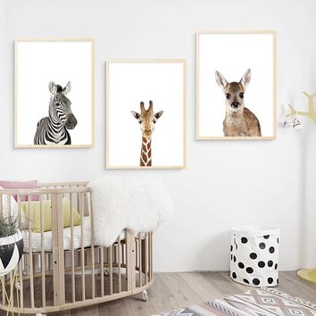 Baby Animal Nursery Prints Painting Picture Children Decoration