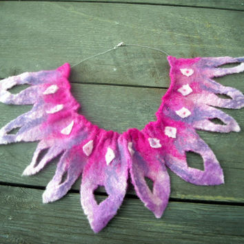 pink tribal felt necklace by SueForeyfibreart on Etsy