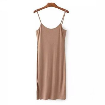 Women's Basic Tank Dress with Leg Slit