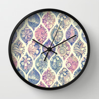 Patterned & Painted Floral Ogee in Vintage Tones Wall Clock by Micklyn