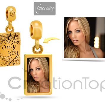 Personalized charm for any Pandora bracelet Memory charm Golden dangle Only you