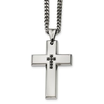 Men's Stainless Steel and Black Diamond Cross Necklace - 22 Inch