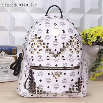 MCM rivets Zipper Women Leather Casual Shoulder SchoolBag Satchel Handbag Backpack H-LLBPFSH