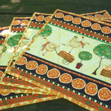 Oranges Geese Placemats Handmade Quilted Set of 4