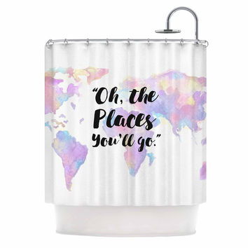 "Kess Original ""The Places You'll Go "" Purple Yellow Shower Curtain"