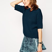 ASOS Sweater In Stitch With Half Sleeve