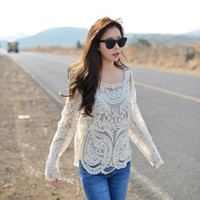 Hot Popular Summer Sexy Cute Elegant Women Lace See Through Floral Printed Top Shirt _ 1960