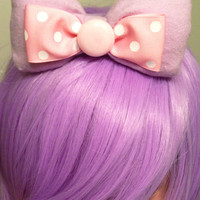Fairy Kei Lolita Kawaii Pink Polka dot bow by GeekSugarPuffs