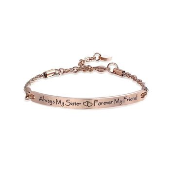 Engrave Bar ID Bracelet Quote Fashion Women Jewelry Sister Friendship Bracelets Bangles Gift Always my sister forever my friend