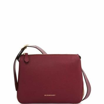 Burberry Helmsley Small Leather & House Check Crossbody Bag, Dark Plum