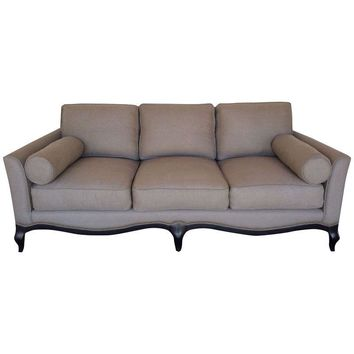 Pre-owned French Styled Taupe Linen Sofa