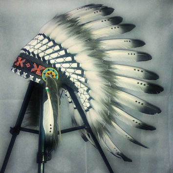 Black white small length feather headdress, Beaded headband, Native American Headdress, Indian Headdress, Indian Warbonnet, Christmas party
