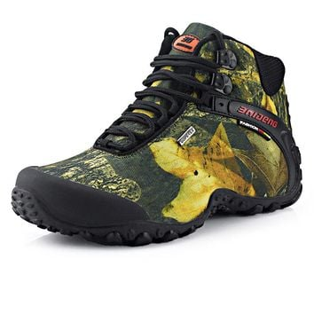 Newest Men Hiking Shoes Waterproof Canvas Outdoor Shoes Anti-skid Mountain Climbing Fishing Boots Sneakers Sport hunting Shoes