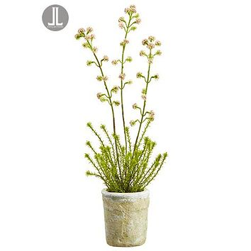 """Pink Fake Wildflowers Herb Arrangement in Clay Pot - 19.5"""" Tall"""