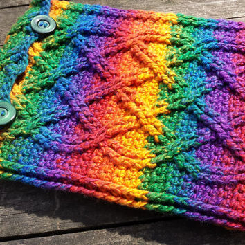 Rainbow Cables Crochet Padded Ipad Tablet EReader Vegan Cover/Case/Pouch/Sleeve