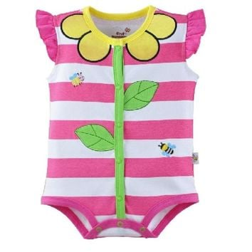 Hooyi Floral Stripe Baby Girls Bodysuits 100% Cotton baby girl clothes newborn jumpsuit ropa de bebe