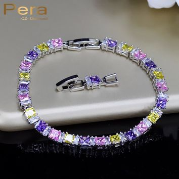 Pera Fashion 925 Sterling Silver Jewelry Multi Yellow Pink Purple Colors Cubic Zirconia Stone Tennis Bracelets For Women B022
