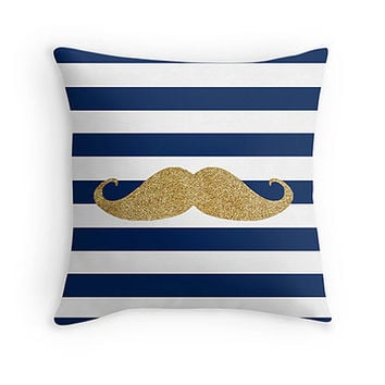 Gold moustache Print throw pillow - includes insert - navy and white stripes