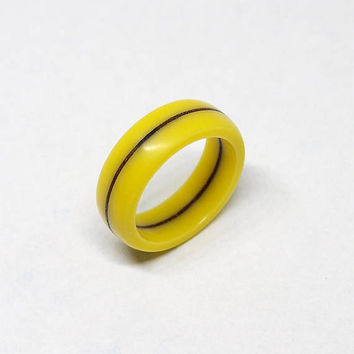 Yellow ring, Yellow jewelry, Corian rings, Wood ring, Wooden ring, Wood jewelry, Resin ring, Stone ring, Band ring, Engagement ring, Yellow
