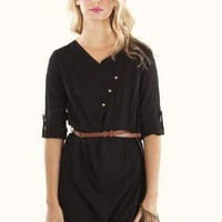 Little Black Belted Tunic with Button Detail&Rolled Sleeves