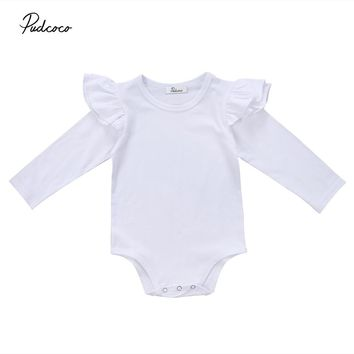 Pudcoco Newborn Infant Baby Ruffle Rompers Long Sleeve Jumpsuit Playsuit Cotton Autumn Winter Baby Clohtes One-Piece Outfit