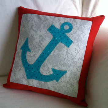Anchor Pillow - Aqua Turquoise Polka Dot Anchor with Red and Marble Grey Nautical Pillow Cushion