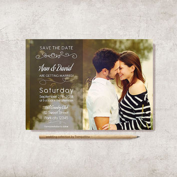 Photo Save the Date Card 5x7in, Digital File - Custom Save the Date