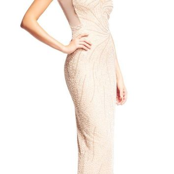 Aidan Mattox - MD1E200817 Sequin Embellished Sleeveless V Neck Gown