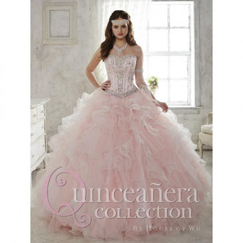 Two Pieces Light Pink Quinceanera Dresses Ball Gowns Organza Quinceanera Sweet 15 Dresses Years Vestidos De 15 Anos 2015QD006