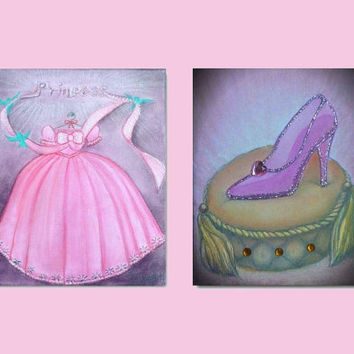 Cinderella Princess Dress and Shoe Girls Nursery Kids Wall Art Decor Set of 2 Art Prints for Girls room Decor