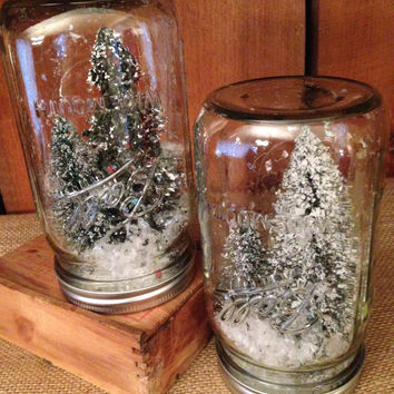 Two Christmas Tree Jars, Bottle Brush Jar, Mason Jar Tree, Christmas Decoration, Snow Globe in a Jar, Holiday Decor, Trees Mason Jar, Rustic