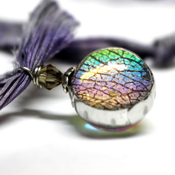 Shabby Shibori Silk Rainbow Glass Pendant Handmade Sparkle Rainbow Fairy Wing Necklace Everyday Jewelry Best Gift for Her Orb Necklace