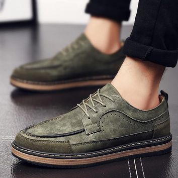 Lace Up Ankle Retro Boots Men Black Leather Brown Vintage Boots Casual Shoes Male Fashion British Style Zapatillas Hombre