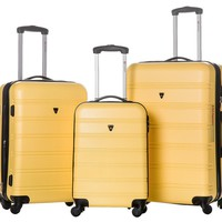 Merax Travelhouse Luggage 3 Piece Expandable Spinner Set Black