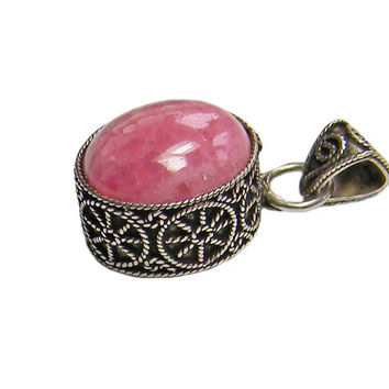 Pink Rhodochrosite Sterling Silver Pendant Ornate Decoration