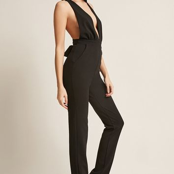 Plunging Self-Tie Jumpsuit