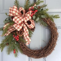 Christmas Wreath-Rustic Wreath-Holiday Wreath-Winter Wreath-Grapevine Wreath-Country Christmas-Natural Wreath-Country Wreaths