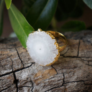 White Natural Solar Quartz Druzy Ring // 22k Gold Electroplated // OOAK Jewelry // Adjustable Ring // Statement Ring // Quartz Jewelry