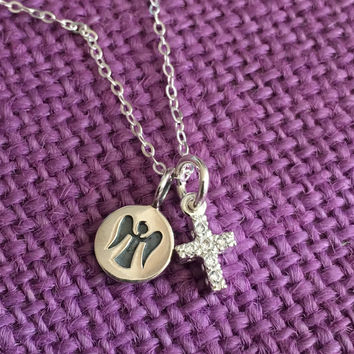 Guardian Angel Necklace - Baptism Gift - First Communion - Godmother Gift - Religious Necklace - Religious Jewelry - Sterling silver