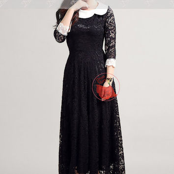 Black Lace Maxi Dress with White Lace Details - Lace Evening Dress - Lace Prom Dress - Elegant Lace Maxi Dress with Peter Pan Collar MM311