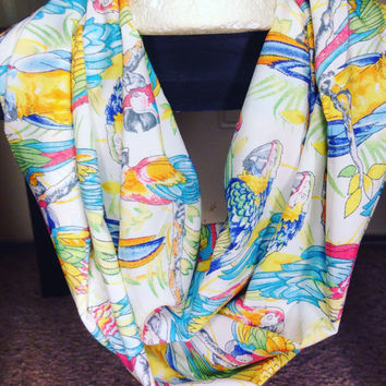 Parrot infinity scarf-scarf-infinity scarf-birds-fall scarf-women's scarf-birthday gift-accessories-silk scarf-light scarf-handmade
