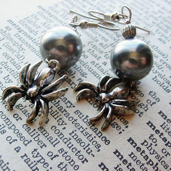 Dangle earrings with black pearls and spiders pierced earrings gothic jewelry