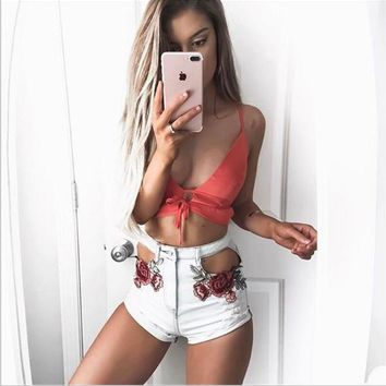 Women Short Jeans Vintage Ripped Light Blue Pants Hold Design Hollow Out Flower Embroidery Washed Denim Shorts