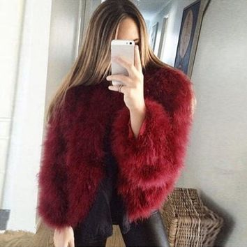 Women Ostrich Feather Fur Coat Jacket Winter Outwear Sweater Shawl Plus Size
