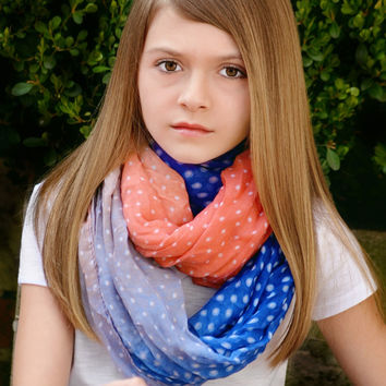 Vibrant Color Ombre Lightweight Infinity Scarves
