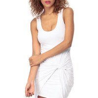 White Knotted Sleeveless Body Con Dress