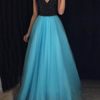 New Blue Patchwork Grenadine Sequin Spaghetti Strap Backless Sparkly Glitter Prom Evening Party Maxi Dress