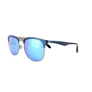 Kalete New Ray Ban Sunglasses RB3538 189/55 53MM Blue & Gunmetal Blue Mirror Fast Ship