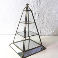 vintage pyramid Box with mirror shelves- Jewelry Box - Curio Case with floral bottom